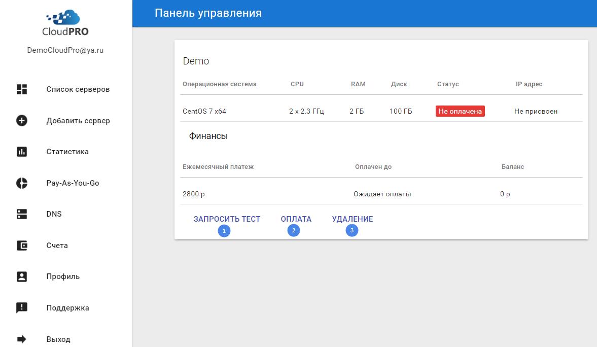 Виртуальный сервер Centos CloudPro